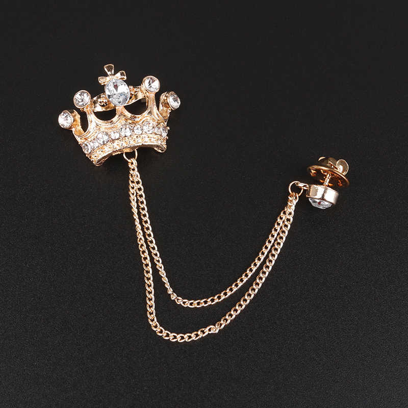 94edcaae1cd ... Mdiger Vintage Brooches Crystal Collar Pins Cross Crown Bird Lapel Pin  Brooch Pins Men Tassel Chain