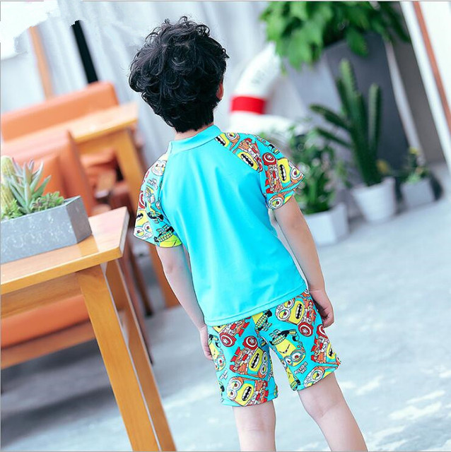 2017 Boys Swimwear Bathing Suit Beach Summer Wear Cartoon Style Two Pieces Kids Children Swimsuit New Style Swimwear Suit Set
