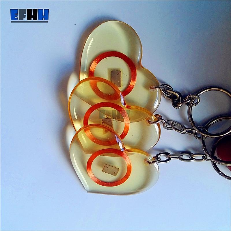 125 khz em4100/tk4100 id trops transparentes da etiqueta chave do rfid do cartão da colagem leu somente o anel chave no cartão do controle de acesso (tipo do coração)