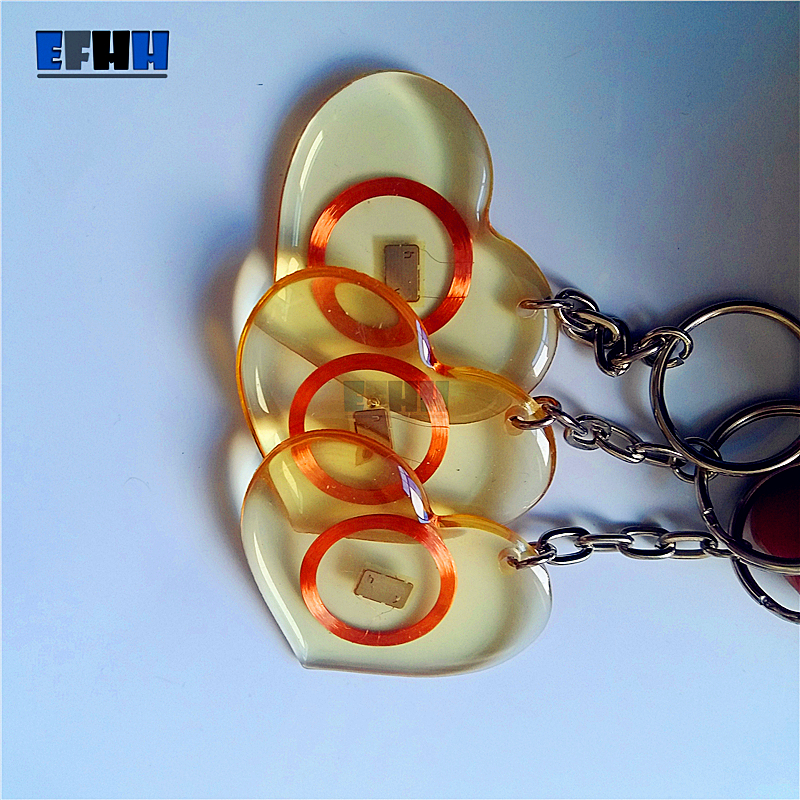 125KHZ EM4100/TK4100 ID Transparent Trops Of Glue Card RFID Key Tag Read Only Key Ring In Access Control Card (Heart Type)