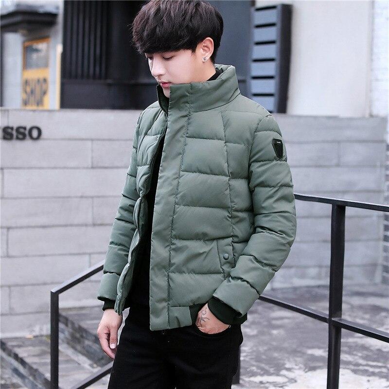 Épais Hommes De Col Mode Mâle Mens Montant Rembourré Hiver Parkas marron Et 2018 vert Solide Manteaux Veste Noir Parka Chaude Homme FAw5tXxqP