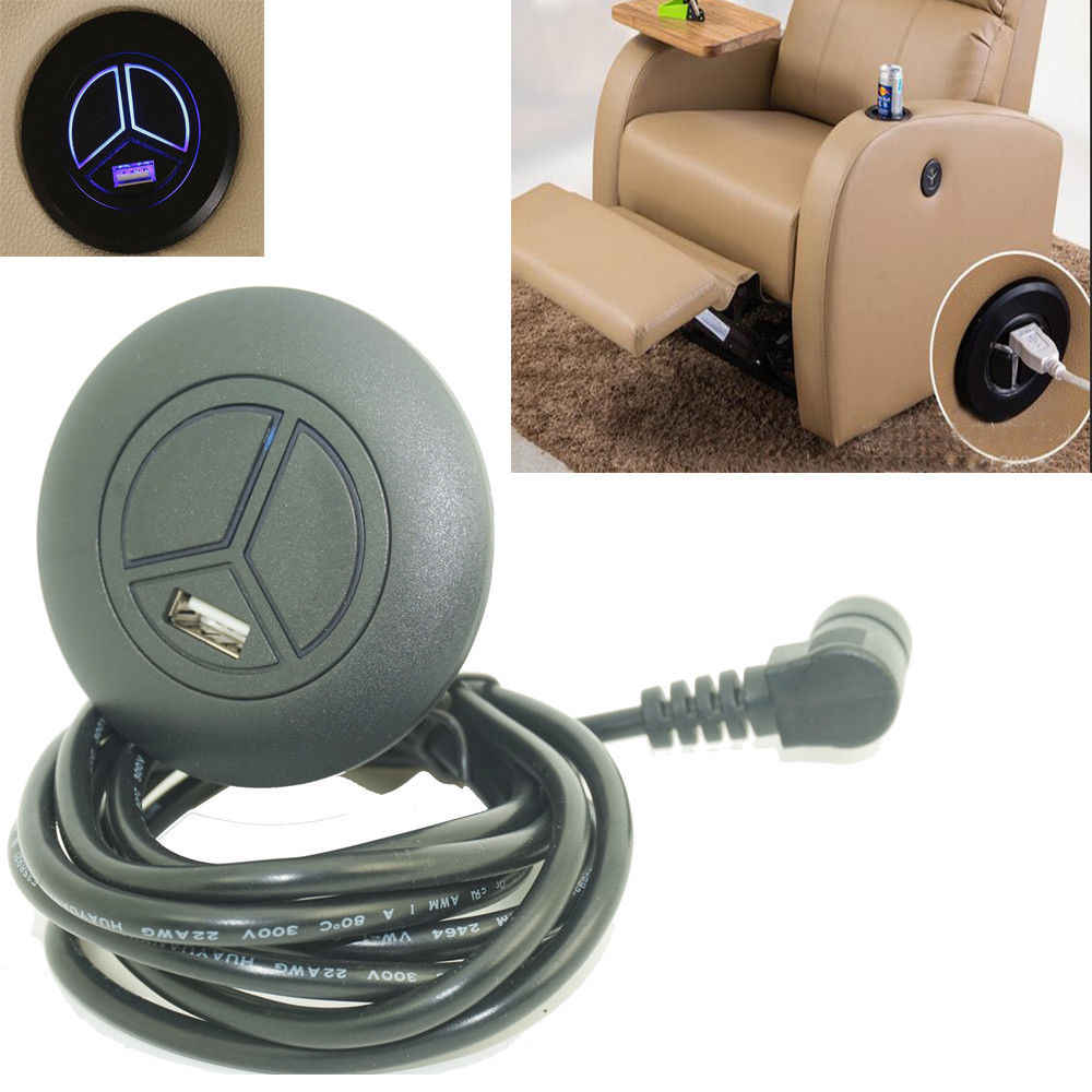 5 Needls Electric Recliner Chair 2 Button Switch Remote Control USB Port LED Indicator Light