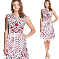 Vfemage Womens Elegant Sexy Lace See Through Tunic Casual Club Bridesmaid Mother Of Bride Dress Skater