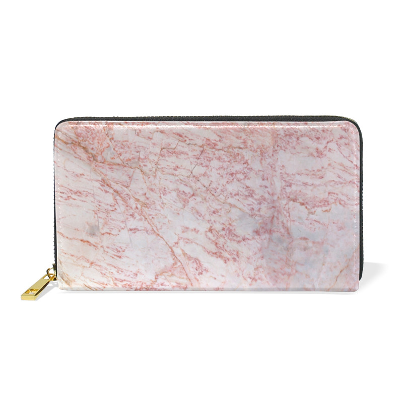 Genuine Leather Girls and Boys Wallet Pink and White Marbling Texture Wallet Long Clutch Lady Wallet Zipper Retro Purse Women