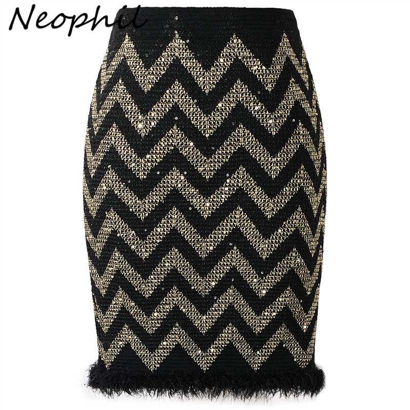 Neophil New 2019 Ladies Winter Sexy Sequined Striped Shinny Mini Skirts Tassel Patchwork High Waist Women Black Short Saia S8311