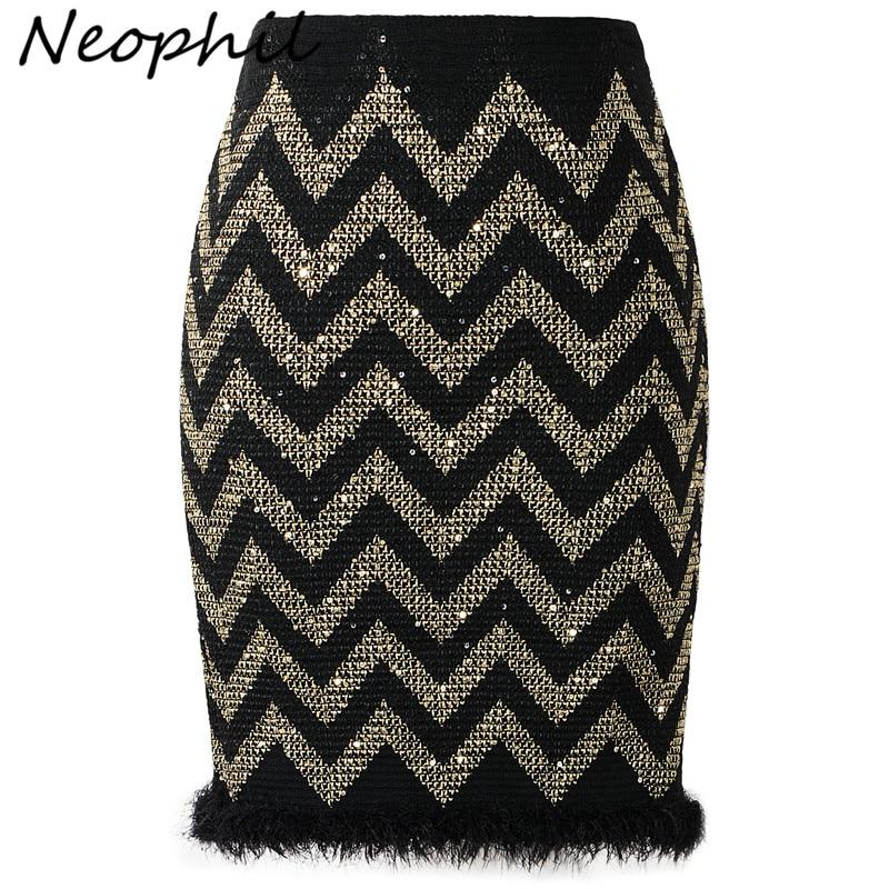 Neophil New 2020 Ladies Summer Sexy Sequined Striped Shinny Mini Skirts Tassel Patchwork High Waist Women Black Short Saia S8311