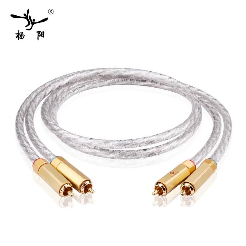 Hifi 2RCA Male to Male Cable Hi-end Silver-plated RCA Audio Cable hifi silver plated audio cable 2 rca male to 2 xlr hifi plug 3 pin male audiophile
