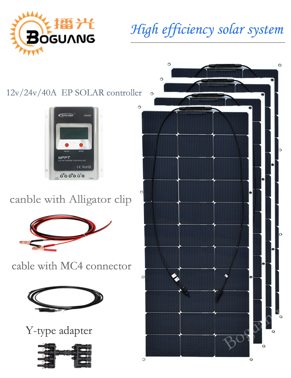 BOGUANG 40A EPSOLAR controller 100w flexible solar panel 400w solar system DIY kit module cell for RV car LED light 12v battery boguang 200w solar system 100w flexible solar panel high efficiency monocrystalline silicon cell module 20a controller cable