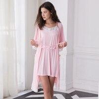 Liva Girl New Women Sleepwear Bamboo Fiber Nightgowns Sleepshirts Sexy Indoor Clothing 2 Pieces Home Pajama