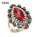 Hot Glamour Vintage Wedding Ring Plating Ancient Gold Fashion Jewelry Resin Crystal Ring For Women 11.11 Gift