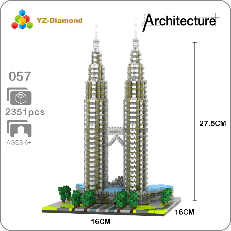 YZ 057 World Famous Architecture Kuala Lampur Petronas Tower 3D Model Mini Diamond Building Nano Blocks Toy for Children no BoxYZ 057 World Famous Architecture Kuala Lampur Petronas Tower 3D Model Mini Diamond Building Nano Blocks Toy for Children no Box