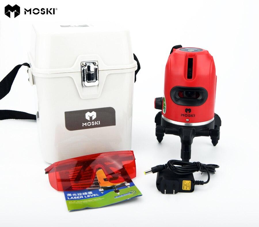 MOSKI 5 laser lines 6 points laser level work with power bank 360 degrees rotary tilt