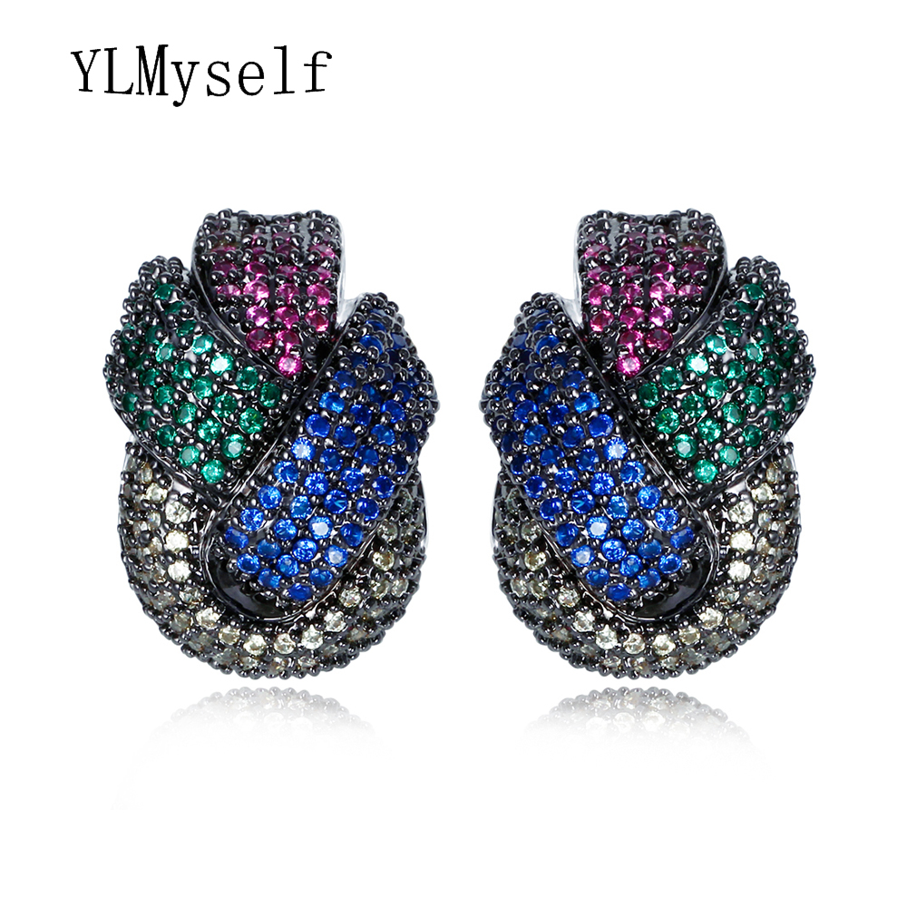 Fashion Colorful Jewelry earring micro pave multi color cubic zirconia crystal orecchini Big stud earrings Top quality jewellery colorful cubic zirconia hoop earring fashion jewelry for women multi color stone aaa cz circle hoop earrings for party jewelry