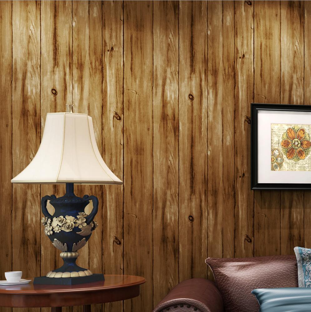 vintage wood grain plank wallpaper non-woven wallpaper vertical stripe tv background wall