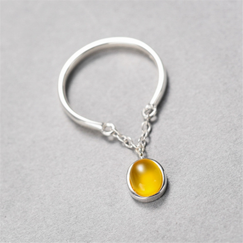 New design 925 sterling silver jade rings yellow agate crystal women temperament open rings simple fashion design jewelry gift lingerie top