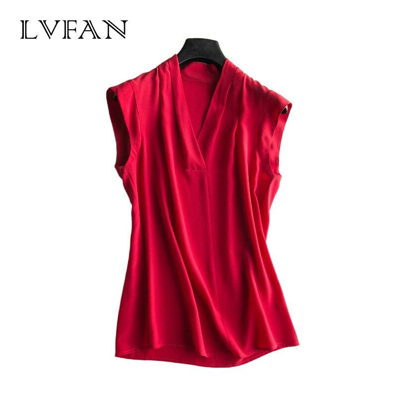 2019 Summer Brand Women s Shirt Heavy Silk T Shirts Big Size Sleeveless Pure Silk Top