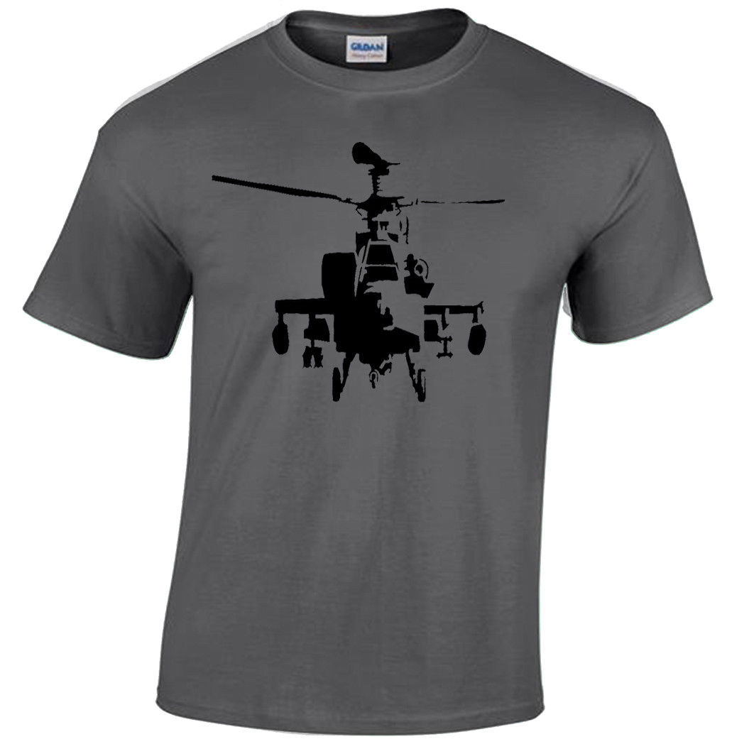 Apache Mens T Shirt S-2XL retro AH-64 chopper helicopter rambo