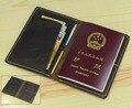 Hecho a mano de La Vendimia Genuina de los hombres de cuero possport cubierta pasaporte funda protectora bolsa de bolsos de cuero de vaca bolsa de la licencia de los billetes de avión