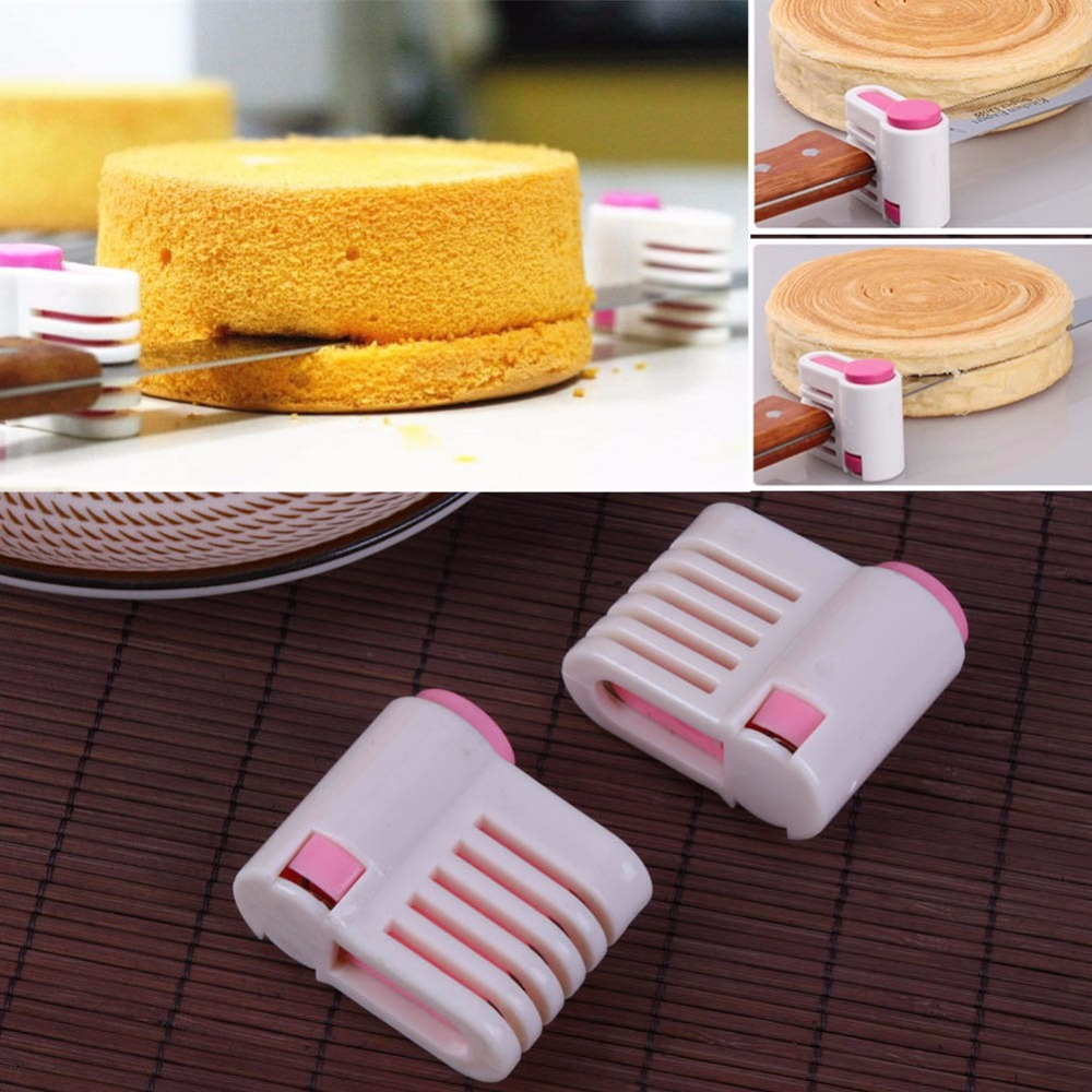 2pcs/pack 5 Layers Adjustable DIY Cake Bread Cake Cutter Leveler Slicer Cutting Fixator for Kitchen Tools(China)