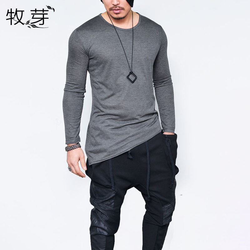 Men simple solid long sleeve t shirt oblique Asymmetrical longline hem t-shirt black tshirt men