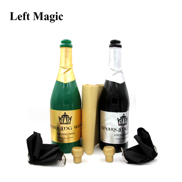 New Vanishing Champagne Bottle Magic Tricks LATEX((Black Or Green) Wine Bottle Stage Close Up Magic Trick Props Gimmick G8217