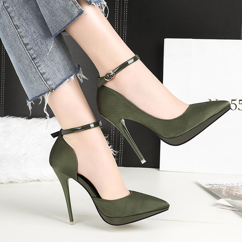 2018 Summer Women 12cm Extreme High Heels Satin Silk Pumps Female Elegant Sexy Heels Shoes Scarpins Stiletto Strap Cheap Shoes