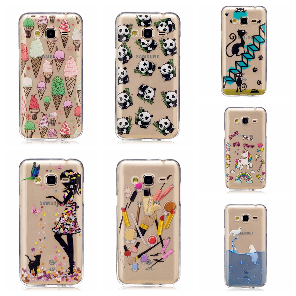 Lovely Cute patterns cat icecream styles Soft Transparent TPU Phone Case Cover For Samsung J3 J310 case