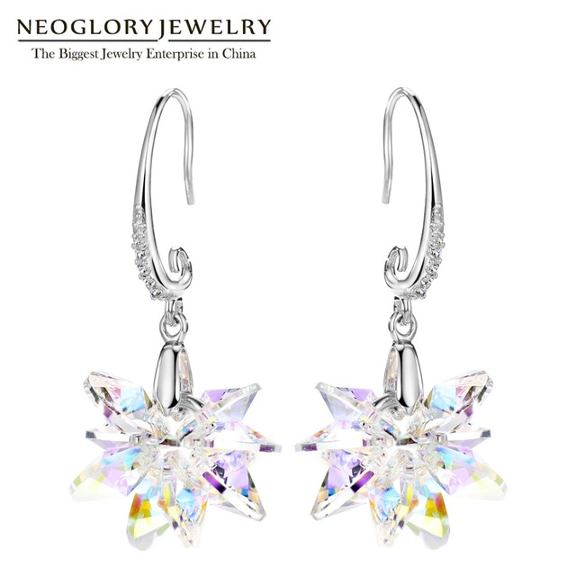 Neoglory Charm Made With Swarovski Elements Crystal Snowflake Hook Star Dangle Earrings For Women Jewelry 2017