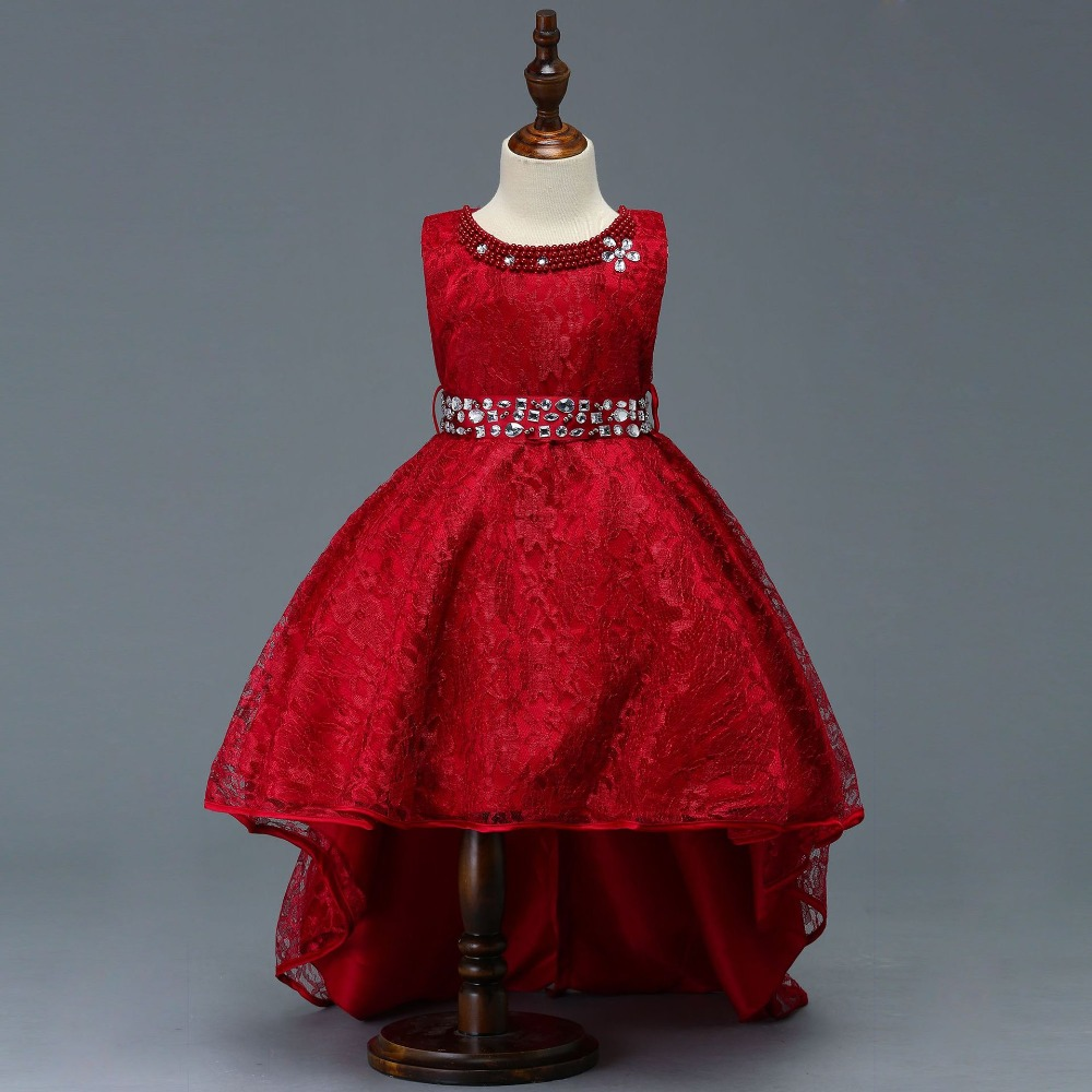 Red 2019 Flower Girl Dresses For Weddings ceremony Gown Cap Sleeves Tulle Lace First Communion Dresses For Little Girls