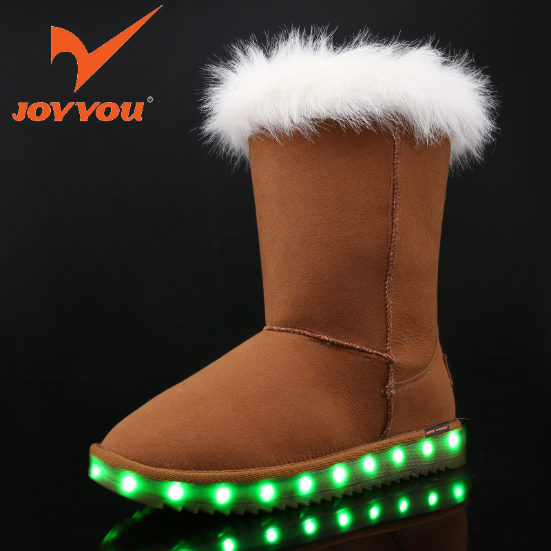JOYYOU Brand USB Children Boys Girls Glowing Luminous Winter Fur With Light Up Led Boots School Footwear Teenage baby Kids Shoes joyyou brand usb children boys girls glowing luminous sneakers kids shoes with light up led illuminated school footwear teenage