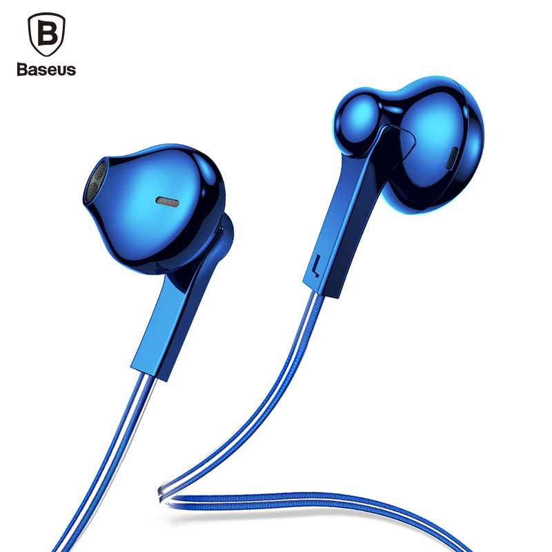 Baseus H03 In-Ear Wired Earphone Plating Headset For Phone Fone De Ouvido Kulakl K Jack 3.5mm Stereo Earbuds Earpiece with Mic anbes in ear wired earphone metal magnetic headset for phone with mic microphone super bass 3 5mm jack standard stereo earbuds