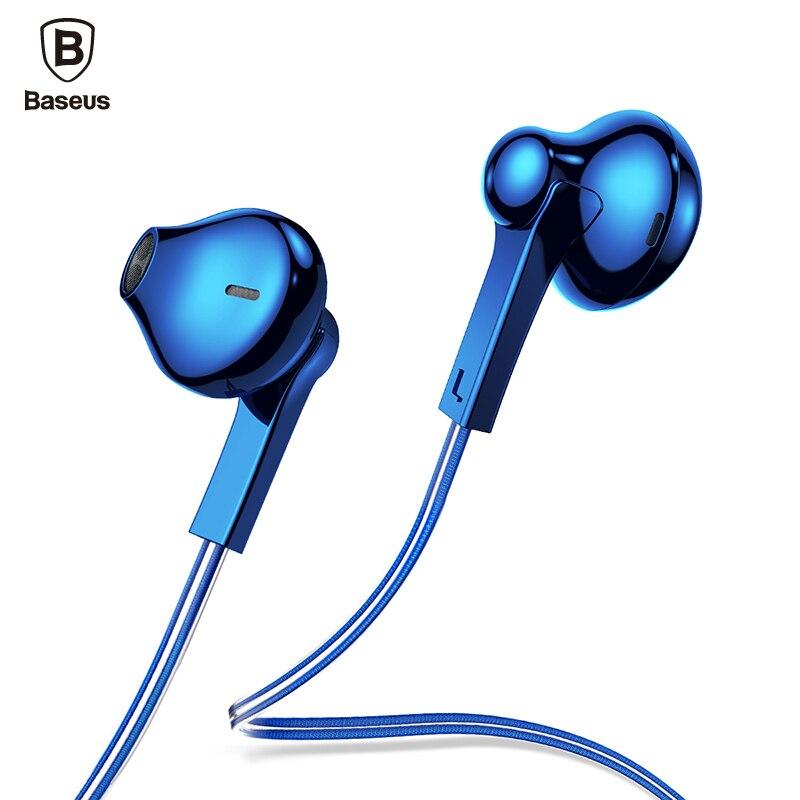 Baseus H03 in-ear auriculares con cable chapado auricular para teléfono Fone De Ouvido Kulakl K Jack 3,5mm auriculares estéreo auricular con micrófono