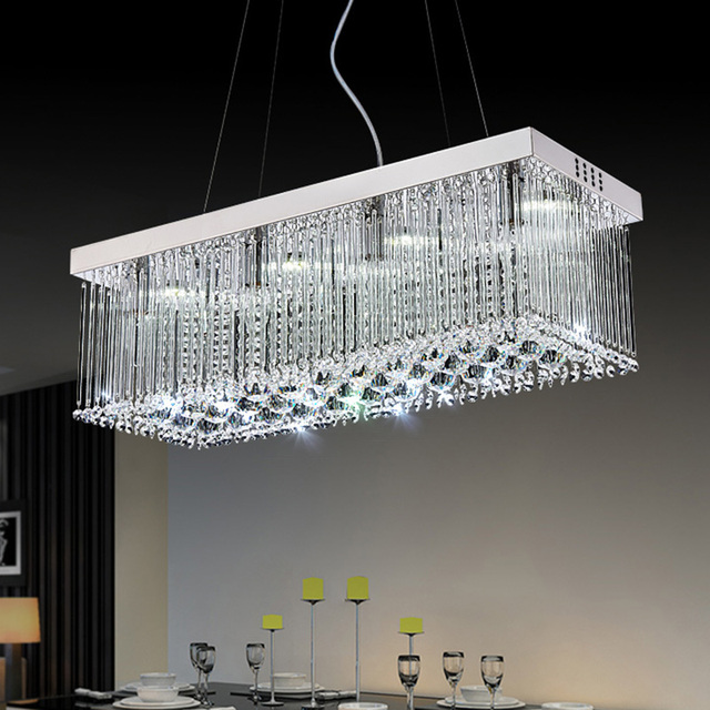 Modern led chandeliers light rectangular crystal chandelier lamp modern led chandeliers light rectangular crystal chandelier lamp for living room dining room lighting ac90 mozeypictures Images