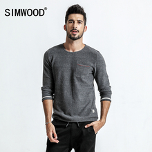 SIMWOOD 2018 autumn Sweater Men Pull Homme Pocket Slim Fit O-Neck Pullovers White Dot Knitted Sweater Plus Size MT017022