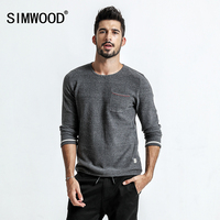SIMWOOD 2018 autumn Sweater Men Pull Homme Pocket Slim Fit O Neck Pullovers White Dot Knitted Sweater Plus Size MT017022