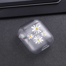 Cases For Airpods Cute White daisy Painted Transparent Hard PC AirPods Protective Cover Wireless Earphone Case