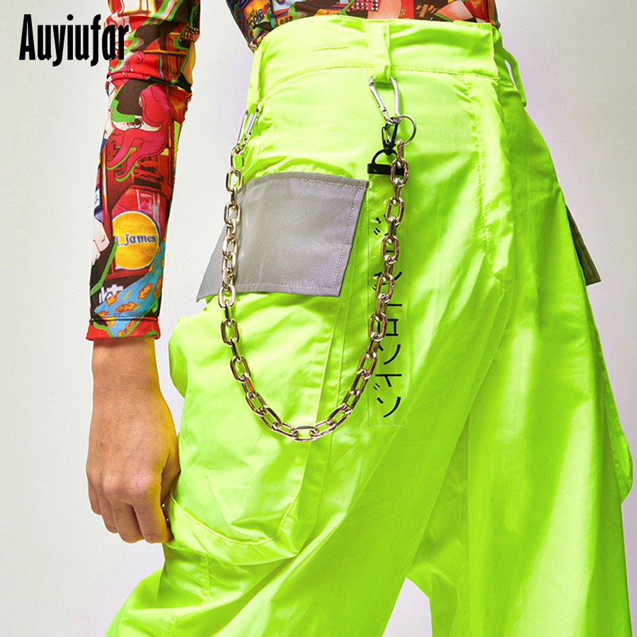 Auyiufar Neon Reflective Pants Streetwear Cargo Pants Women
