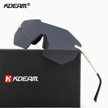 Top Rimless Shield Oversized Sunglasses Men Irregular Sun Gl