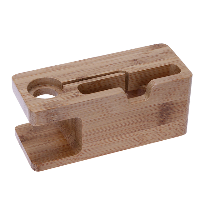 Wooden Charging Dock Station For Mobile Phone Holder Stand Bamboo Charger Base Bracket Le