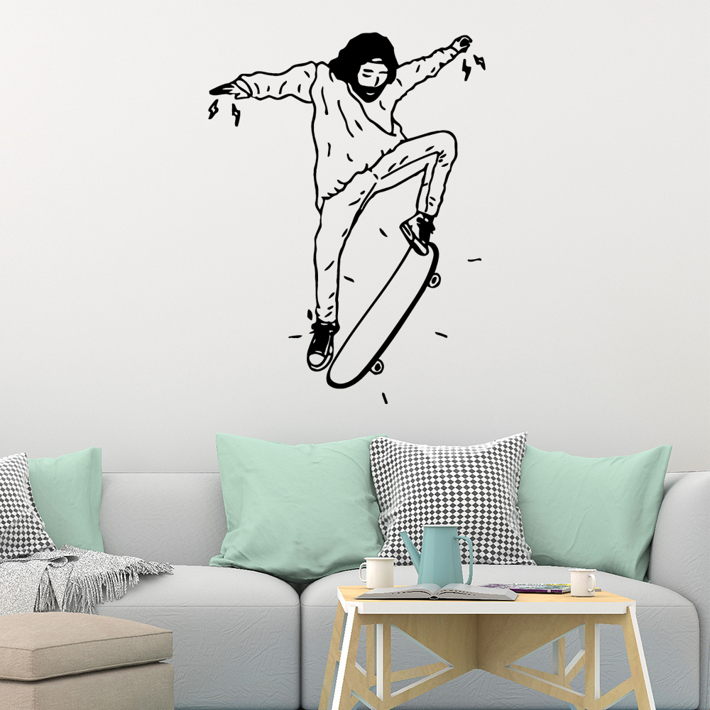 Artistic Skateboard Wall Stickers Modern Fashion Sticker Decor Living Room Bedroom Removable removable mural