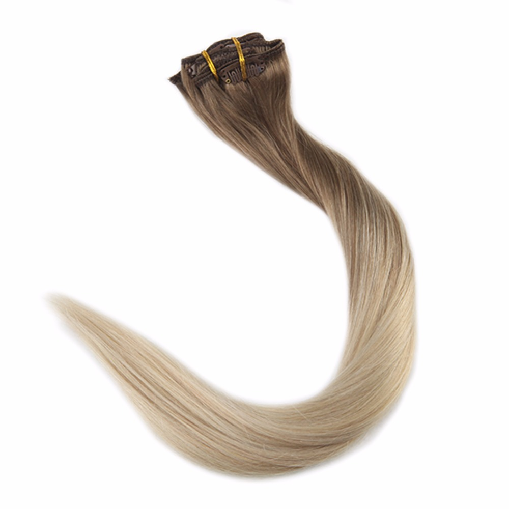 Full Shine Balayage Hair Clip In Extensions Color 8 Fading To 60 White Blonde 7Pcs 50g Per Package Remy Hair Clip In Extensions