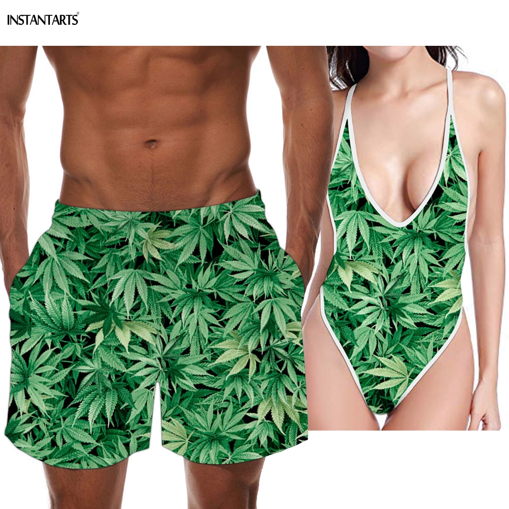 INSTANTARTS Green Plant Hemp Leaf Weed Printing Couples Swimwear Woman Backless Monokini Men Swimming Trunks Bathing Beach Suits