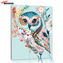 Colorful Owl Framed Pictures DIY Painting By Numbers DIY Oil Painting On Canvas Home Decoration Wall Art 40X50CM(China)