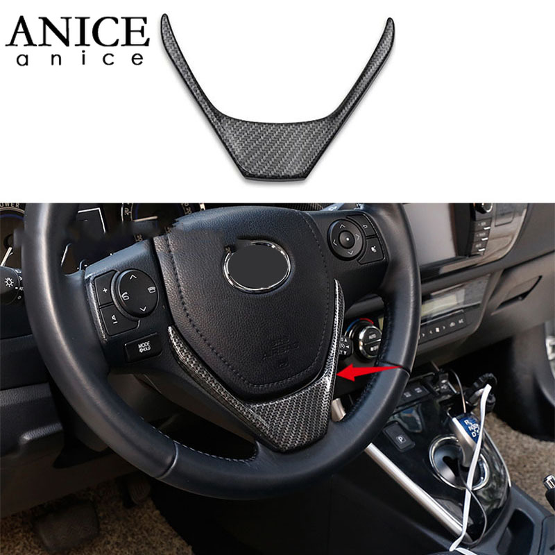 Carbon Fiber Color ABS Steering Wheel Frame Decorator Cover Trim Fit For Toyota Corolla Auris 2014 2015 2016 2017 2018