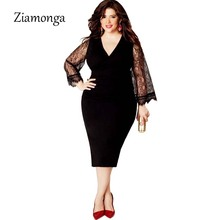 Ziamonga L- 3XL 4XL 5XL 6XL Plus Size Women Clothing Basic Streetwear Long Sleeve Lace Bodycon Dress Big Size Midi Women Dress(China)