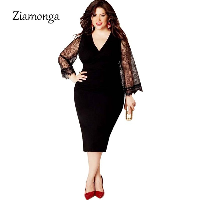4c45ca7525b17 Ziamonga L- 3XL 4XL 5XL 6XL Plus Size Women Clothing Basic Streetwear Long  Sleeve Lace Bodycon Dress Big Size Midi Women Dress