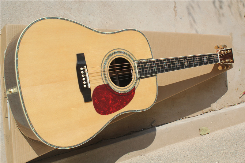 free shipping China Custom Guitar High Quality Deluxe Solid Spruce Top Nature Wood Acoustic Guitar  1117 high quality solid wood guitar 41 inch spruce wood panel acoustic guitar guitarra free shipping