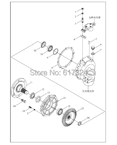 FT254 tractor, the set of front drive shaft with end big gear (22 teeth), T254.31F.111 and FT254.31F.110b lijia sl3105abt2s for tractor like jm454 set of bearing hydraulic transmission shaft and sliding block