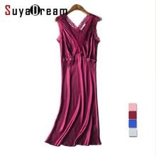 100% REAL silk nightgowns women Sexy V neck sleepdress Solid SATIN nightdress nightie Summer style pink Wine Blue Sliver