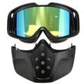 Montar En moto Modular Desmontable Cara Máscara Gafas de Protección Gafas De Casco de Moto Azul Amarillo